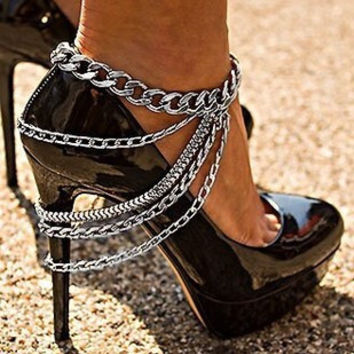 2016 New Gold Silver plated Multi Chain Anklet,Sexy Shoes Chain, Draped Layered Heel Shoe Anklet Foot Chain Body Jewelry