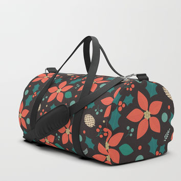 Deck the Halls (Black Background) Duffle Bag by lalainelim