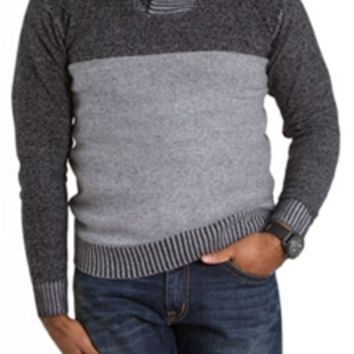 Retro Fit Plated Shawl Button Collar Sweater for Men SYR4-830012B