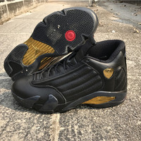 "[ FREE SHIPPING ] AIR JORDAN 14 (BLACK / GOLD ""DMP"")"