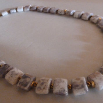 Vintage purple lavender marbled porcelain ceramic beaded necklace choker with gold accent beads costume jewelry Easter Spring