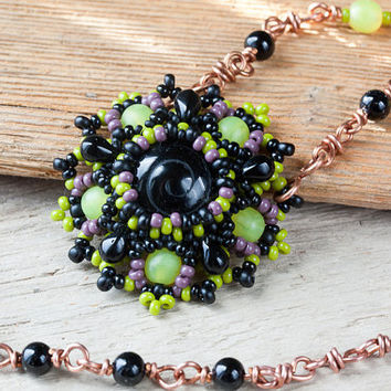 Romantic Green and Black Flower Pendant Necklace by CookOnStrike