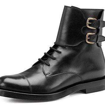 Men Black Ankle Double Monk Military Derby Genuine Leather Boots
