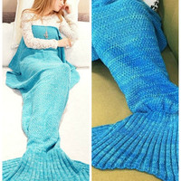 Mermaid Tail Knit Sleeping Pod Blanket Knitted Mermaid Sofa Blanket Autumn&Winter Home Gift