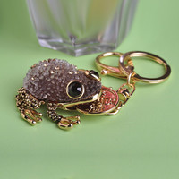 2015 Fashion Mascot Toad Keychains Round Coin in the Mouth Exquisite Car Key Chain & Bag Buckles Chaveiro Llaveros Kawaii Chain