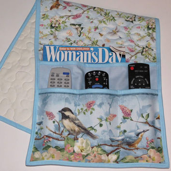 Quilted Armchair Caddy, Bedside Pocket, Remote holder, Chickadee and Butterflies