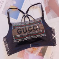 GUCCI Half Top Womens Soft Comfortable Bra Black