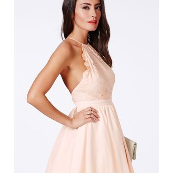 Missguided - Desaree Nude Backless Puffball Mini Dress