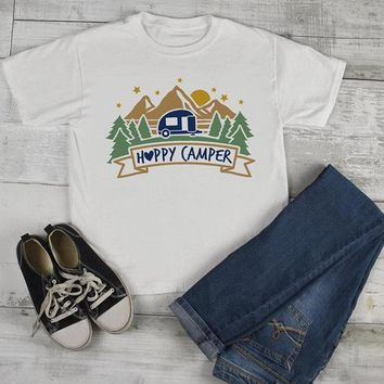 Kids Happy Camper T Shirt Mountains Shirt Forest Camping Graphic Tee Shirts