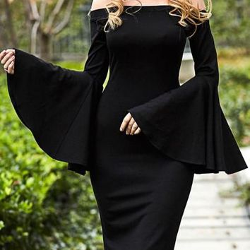 Black Bell Sleeve Slash Neck Women's Sheath Dress