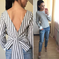 V-Back Long Sleeve Striped Shirts with Big Bow