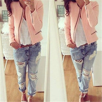 PUNK Women Lady High Waisted Long Sleeves Zipper Jackets Casual Slim O-Neck Coat