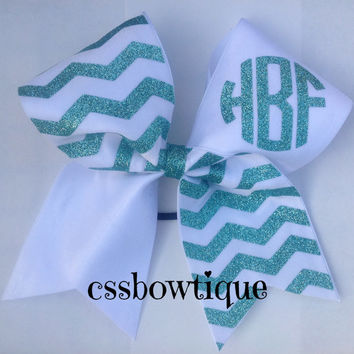 Custom Chevron Monogramed Cheer Bow