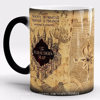 Harry Potter Mug Color Changing Cup,Mischief Managed/Marauder Map Magic Cup,Sensitive Coffee Mug Tea Cup Gift Free Shipping