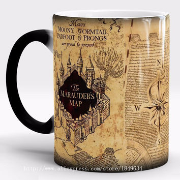 Harry Potter Mug Color Changing Cup,Mischief Managed/Marauder Map Magic Cup,Sensitive Coffee Mug Tea Cup Gift