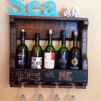 Rustic Chalkboard Wine Rack; Wedding Wine Rack; Reclaimed Wine Rack
