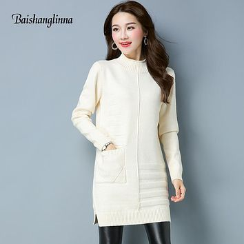 Baishanglinna 2017 Fashion wool Sweater High Quality Autumn Winter Sweater female Turtleneck long sweater pullover women clothes