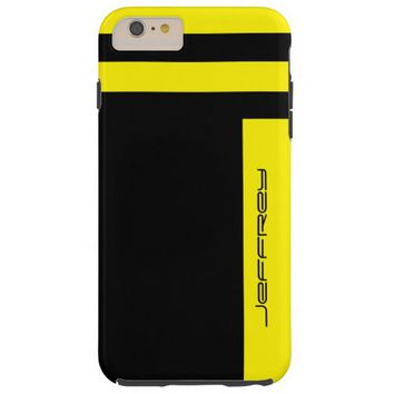 Yellow & Black Two Way Stripe Custom Name Tough Tough iPhone 6 Plus Case