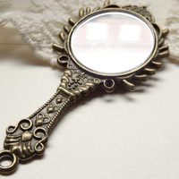 1 Vintage Style Hand Mirror Pendant Antique Bronze Mirror Necklace Charm Bronze Spiked Detailed Mirror