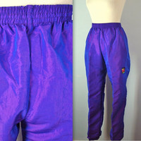 Vintage Neon Pants / 1980s Surf High Waist Pants / m