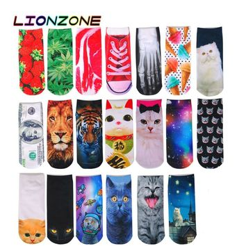 LIONZONE 3D Prints Cute Socks Fashion Animal Cat Carton Character Dollar Bill Skull Foot Funny Low Cut Art Women Ankle Socks