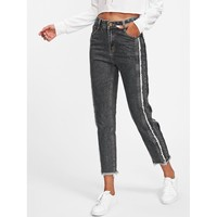 Grey Regular Mid Waist Tapered Jeans