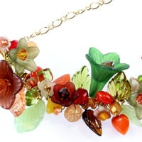 Floral and Leaf Cluster Necklace, Bib Necklace N13134