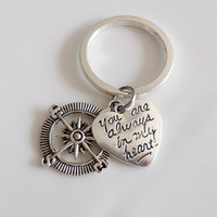 "Compass Keychain ""you're always in my heart"" charms, best friend keychain, Sister mother daughter boyfriend girlfriend Gift"