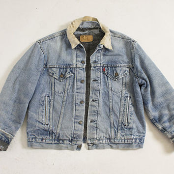 Vintage LEVI'S Denim Jacket - Distressed Blanket Lined Jean Jacket 1990s - Large 44""