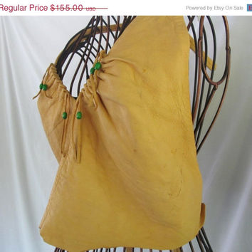 1960s Bohemian Deerskin Halter Top Deer Hide Soft Camel Halter Top Harley Chick Indian Maiden Leather Shirt