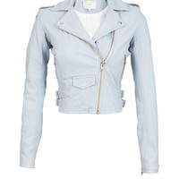 Ashville Leather Long Sleeve Cropped Moto Jacket