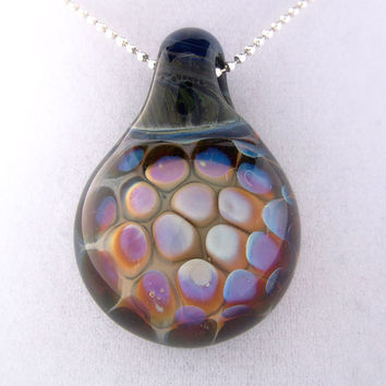 Purple and pink dot implosion, hand blown boro pendant