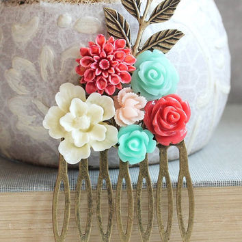 Floral Collage Hair Comb Aqua Blue and Coral Red Colorful Modern Wedding Bridal Hair Accessories Bridesmaid Gifts Retro Style Chrysanthemum