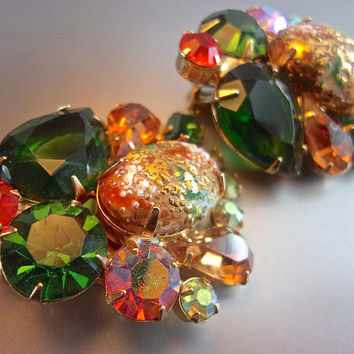 JULIANA D&E Multi Color Easter Egg Earrings, AB Rhinestones, Book Piece Vintage