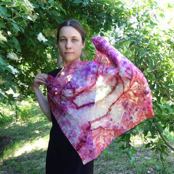 Pink silk scarf Hand-painted square shawl Floral chiffon Painted head neck summer silk scarf Sakura blossom Cherry bloom. 69x69cm,28x28""