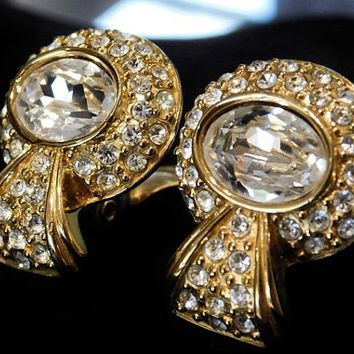 MONET Earrings Rhinestone Crystals 12kt Gold Plated Clip On 1960s Mid Century Earrings Encrusted Pave Designer Signed Monet Earrings MOD