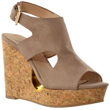 Womens Slingback Peep Toe Cork Wedge Platform Sandals Taupe