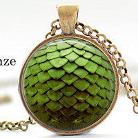 Green Dragon egg  Magical Mermaid Scales Pendant Game of Thrones inspired Necklace Pendant Jewelry Fantasy Miniature Dragon egg charm
