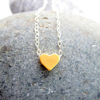 Gold Heart Necklace Sterling Silver Necklace by pearlatplay