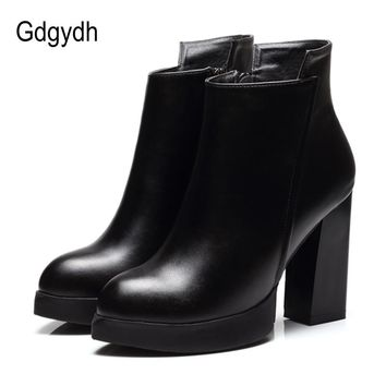 Gdgydh Spring Autumn Martin Boots Women Soft Leather Pointed Toe Black Ladies Ankle Boots High Heels Good Quality Party Shoes