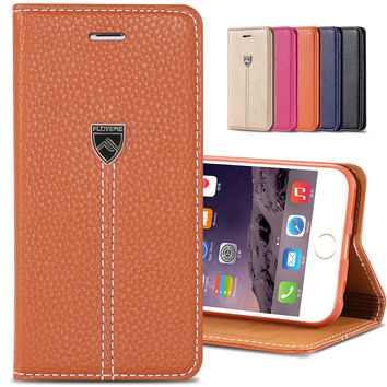 Original FLM Brand Luxury Magnetic Flip Leather Case For Apple iPhone 6 Plus 5.5 inch Women Man Mobile Phone Cover iPhone6 Plus