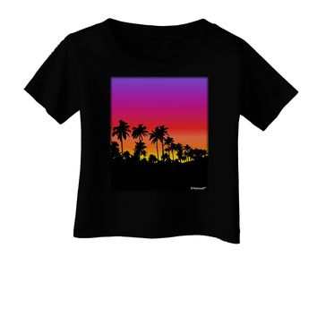 Palm Trees and Sunset Design Infant T-Shirt Dark by TooLoud