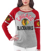 Women's Gray Chicago Blackhawks Base Runner Tri-Blend Long Sleeve T-Shirt