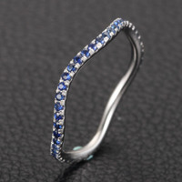 Natural Blue Sapphire Wedding Band Eternity Anniversary Ring 14K White Gold
