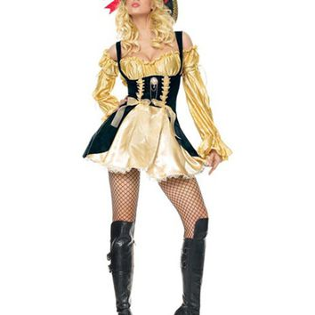 MOONIGHT High Quality Queen Knight Halloween Woman Pirate Costumes Women Sexy Classical Somali Pirate Cosplay Costumes Hot Sale