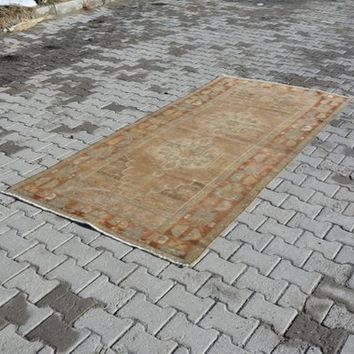 Oushak Rug Turkish Rugs living room Rug Vintage Rug Handmade Rug Area Rug Over dyed Rug Distressed Rug Shabby Chic Unique 8.7 x 4 Feet AG204