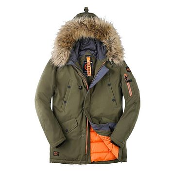 New Collection Men Padded Parka Winter Coat Mens Fashion Jacket Long Thick Parkas Artificial Fur