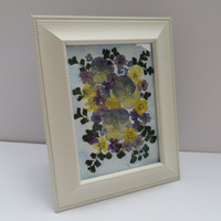 Real Flower Picture, Pressed Flower Art, Real Pressed Flowers, Dried Flower Art-30% SALE