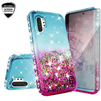 Samsung Galaxy Note 10+ Case,Galaxy Note 10 Plus Case Liquid Glitter Phone Case Waterfall Floating Quicksand Bling Sparkle Cute Protective Girls Women Cover for Galaxy Note 10 Plus W/Temper Glass -  (Teal/Pink Gradient)