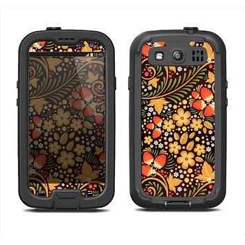 The Colorful Floral Pattern with Strawberries Samsung Galaxy S3 LifeProof Fre Case Skin Set